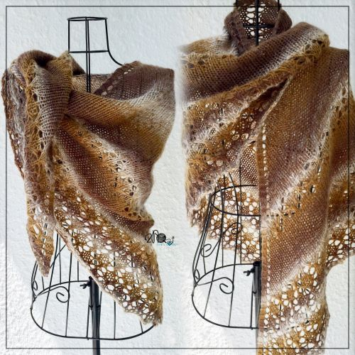 Golden Brown Knit Shawl