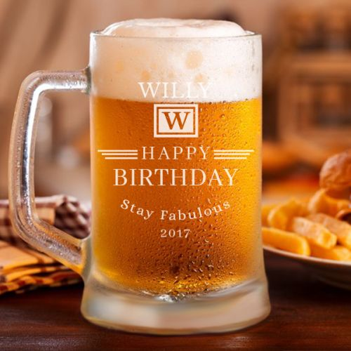 'Birthday' Personalized Classic Beer Mug (500ml)