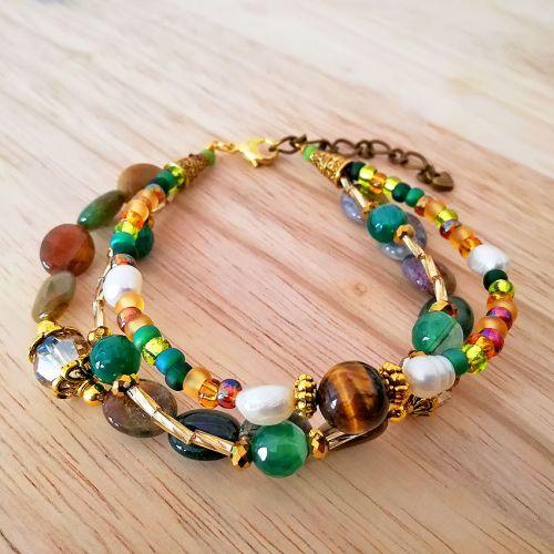 Handmade Gemstone Layers Bracelet 01 Green (HGLB01)