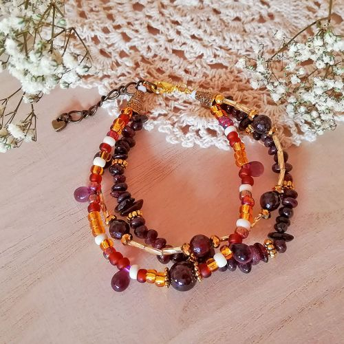 Handmade Gemstone Layers Bracelet 03 Brown (HGLB03)