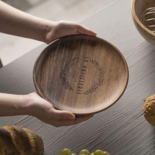 Personalized Luxury Acacia Wood Plate Set (2pcs)