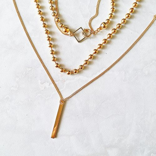 Minimalist Geometric Collection | Gold Plated Minimalist Geometric Multi Strand Layered Necklace