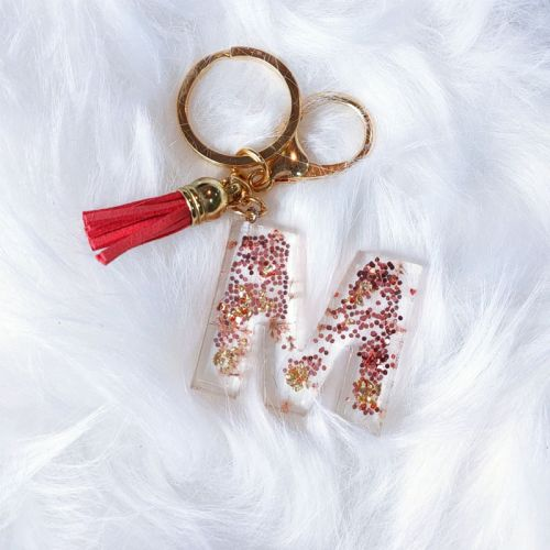 Custom Handmade Floral and Glitter Monogram Keychain