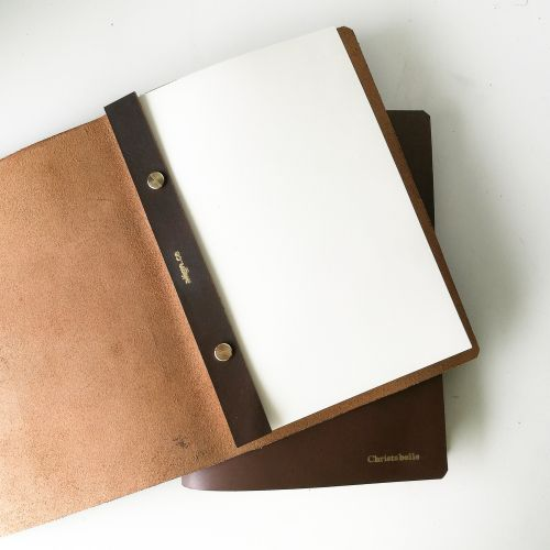 A5 Leather Binder Journal Notebook (Full-Grain Genuine Leather) with FREE Name Embossing