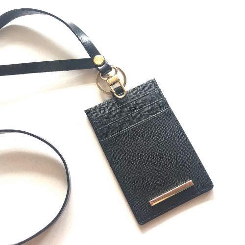 Personalised Saffiano Leather ID Card Holder + Lanyard PROMO SET!