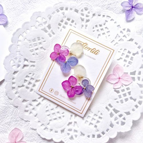 Handmade 3 colours Hydrangea Earing 手作3色绣球花耳环