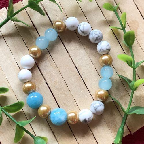 August Bijoux Handmade Blue Gold Bracelet