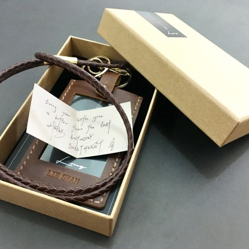 Brown Leather ID Card Holder + Braided Leather Lanyard PROMO SET!