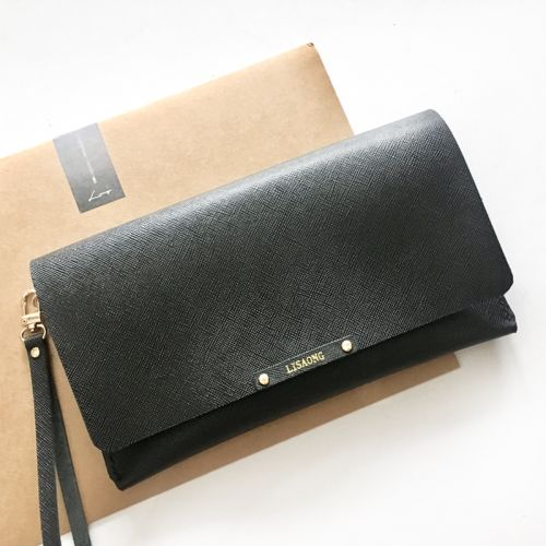Personalised Black Saffiano Leather Tri-way Clutch