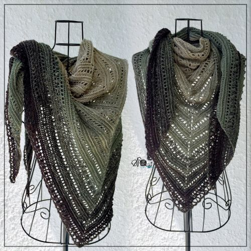 Olive Brown Crochet Shawl