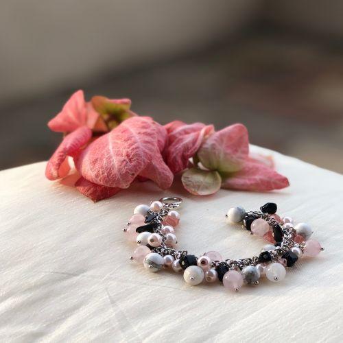 Handmade Pink Rhapsody Cluster Bracelet