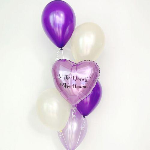 Metallic Heart & Star Helium Balloon Bouquet