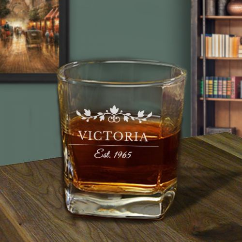 'Insignia' Personalized Square Whiskey Glass 10oz - (Vintage Collection)