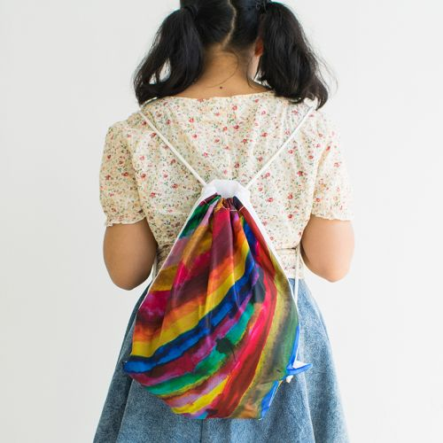 Art-Inspired Drawstring Bag: Lines