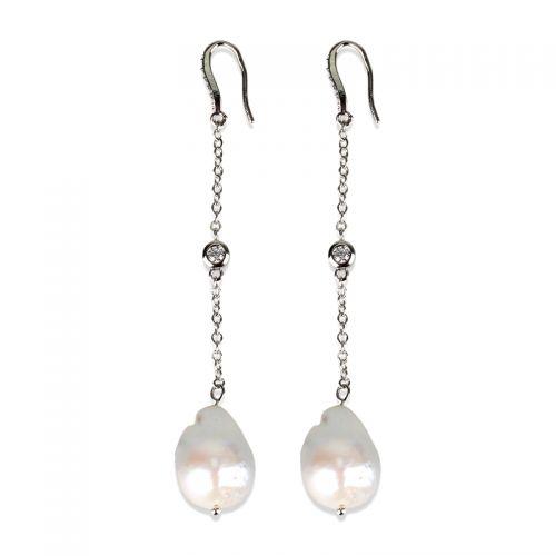Drape Silver Baroque Pearl Earring