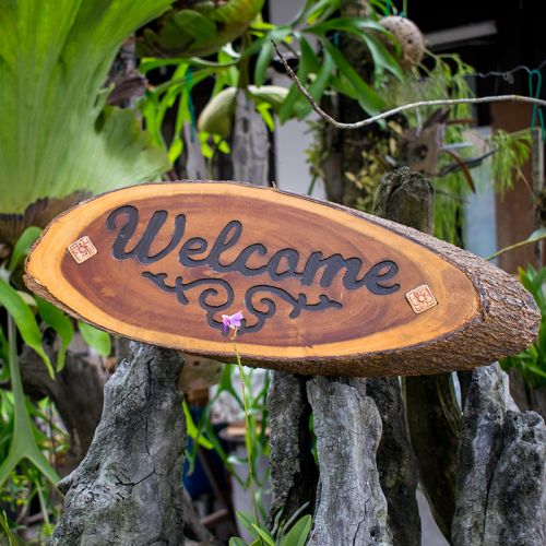 Welcome Wooden Signage