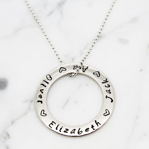 Personalised Large Circle of Love Necklace - Free Shipping