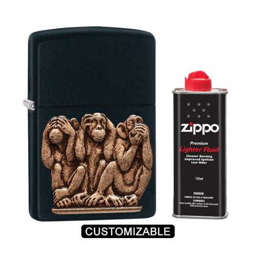 Zippo 29409 Black Matte - Three Monkeys Lighter