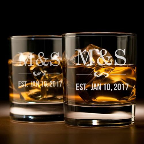 'COUPLE'S INITIAL' PERSONALIZED ROCK GLASS SET 10 OZ