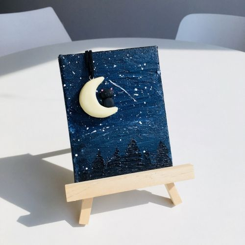 Mini Night Scenery with Cat on the Moon Painting on an Easel