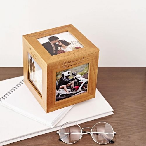 Personalized Wooden Photo Cube Box (Free Photo Printing)