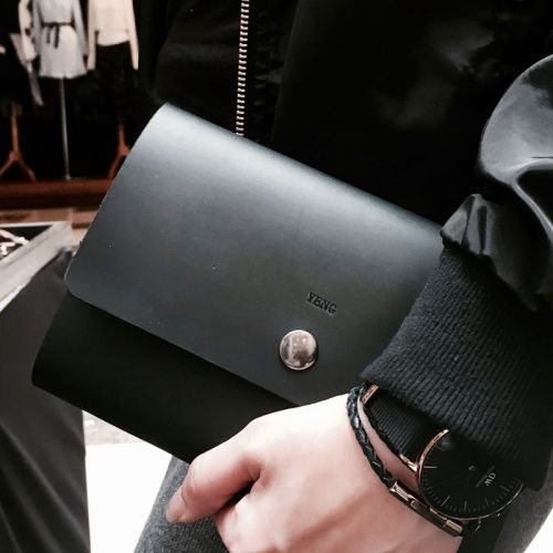 Personalised Stylish Black Leather Notebook - Clutch Design