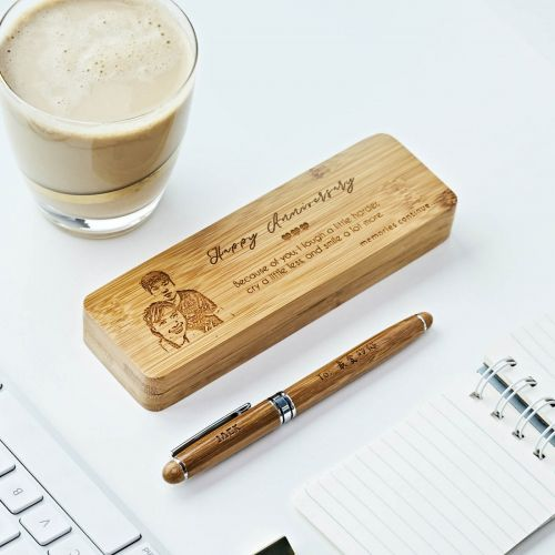Bamboo Wood Pen + Case Set