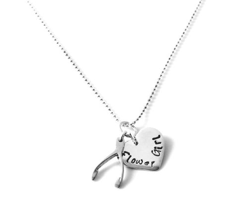 PERSONALISED LUCKY HEART AND WISHBONE NECKLACE - Free Shipping