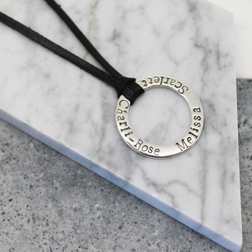 Personalised Circle Sterling Silver Pendant - Free Shipping