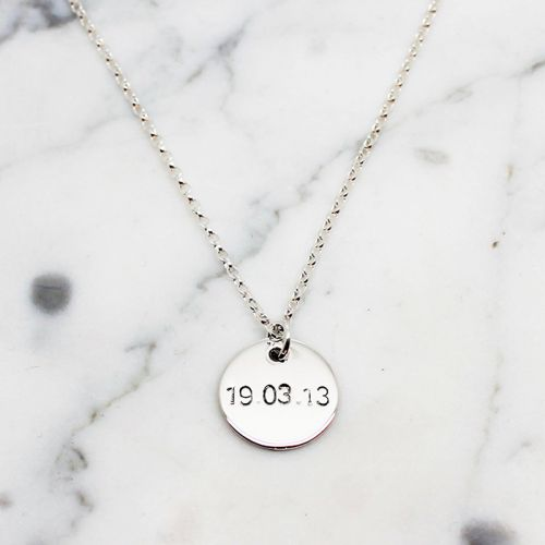 PERSONALISED STERLING SILVER SMALL CIRCLE NECKLACE - Free Shipping