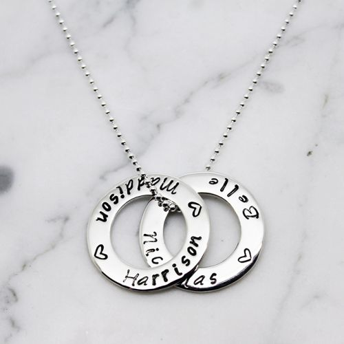 DOUBLE SMALL CIRCLE OF LOVE STERLING SILVER NECKLACE - Free Shipping