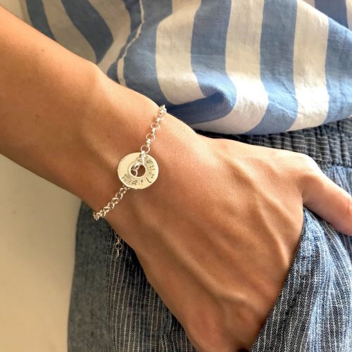 PERSONALISED TARGET STERLING SILVER BRACELET - Free Shipping