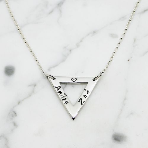 Personalised Triangle Sterling Silver Necklace - Free Shipping