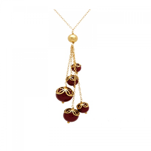 Necklace with Beaded Shape Gems
