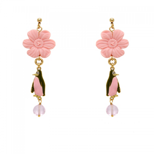 Glass Bead, Fancy Shape, Violet Color Earring