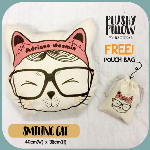 Smiling Cat Plushy Pillow