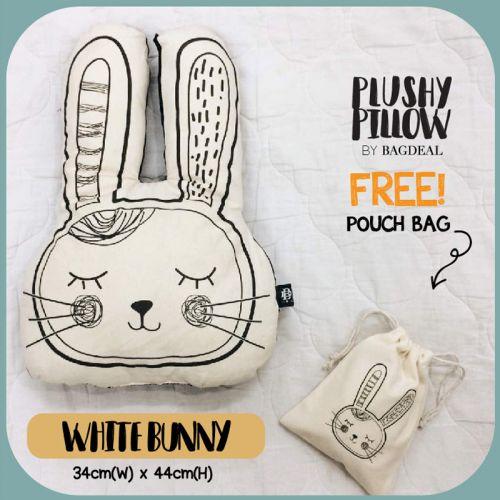 White Bunny Plushy Pillow