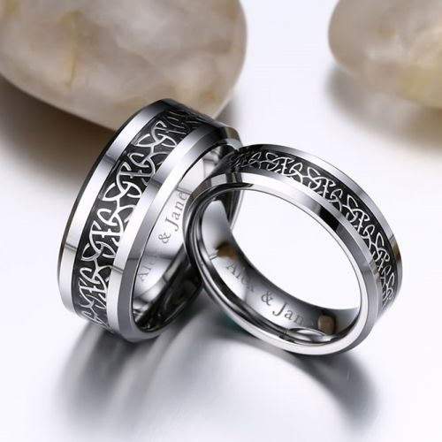 Personalised Triquetra Couple Rings