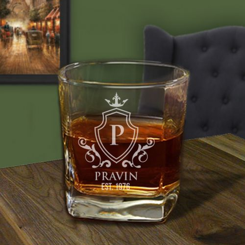 'Prestige' Personalized Square Whiskey Glass 10oz (Vintage Collection)