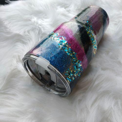30 Oz Rocky Mountain Stainless Steel Glitter Tumbler