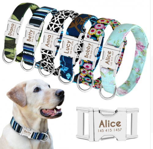 Dog Collar Personalized Nylon Pet Dog Tag Collar Custom  Nameplate ID Collars Adjustable For Medium Large Dogs Engraved