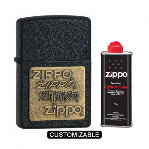 Zippo 362 Black Crackle with Brass Emblem Lighter