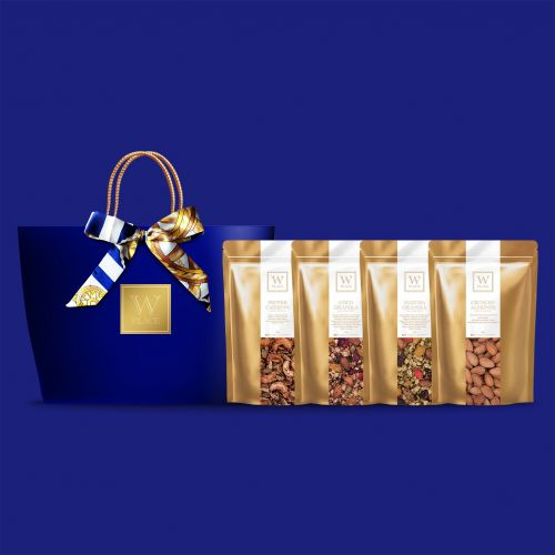 Raya 4 PACK SPECIAL with Twilly Scarf | Royal Blue Color Paper Bag