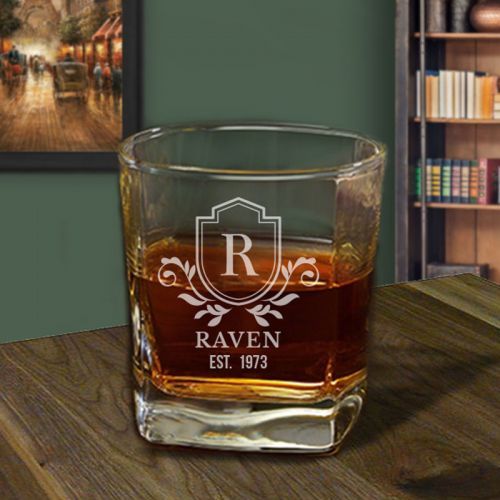 'Royalty' Personalized Square Whiskey Glass 10oz - (Vintage Collection)