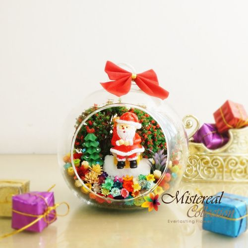 Christmas Santa with House - Mistereal Preserved Flowers