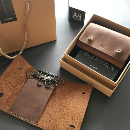 Personalised Leather Key Holder with Inner Card Slot