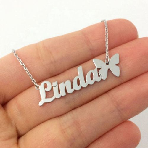 Customised Name Necklace Butterfly Pendant