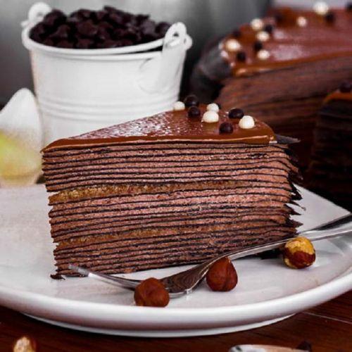 Hazelnut Chocolate Mille Crepe Cake