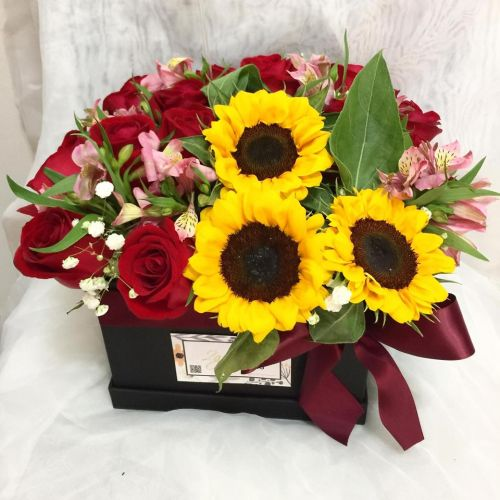 Sunflower with Roses Flower Box