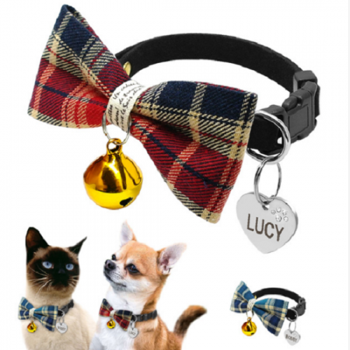 Personalized Puppy Kitten Plaid Bell Bowtie Collar With Custom Engraved Pet Dogs Cats ID Tag